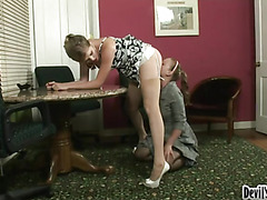Hot Boss Gets Her Pussy Eaten Out By Horny Employee