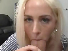 Horny Blonde Sucking A Huge Cock