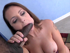 Black man gets his large dick pleasured by pretty Mandy Sweet