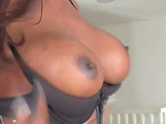 Provocative shemale in fishnet moans while jerking off for the camera