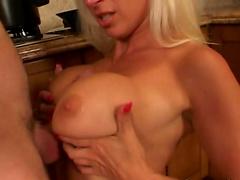 Blonde darling Davon Lee gets her puss fucked in the kitchen