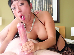 Giggly Asian cowgirl with big tits in high heels getting smashed doggystyle with a big cock