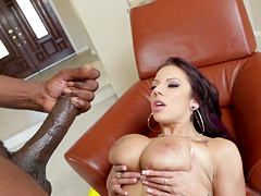 Vivacious brunette with long hair thrilled as her big tits are caressed then gets drilled doggystyle