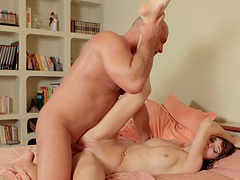 Horny girl Carol Vega spreads her legs to ride a dick in the morning