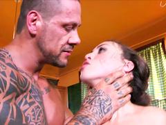 Tattooed man with a stiff cock fucks ass of pretty Tiffany Doll