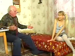 Blonde Teen Having Hardcore Sex with Grandpa