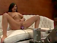 Brunette Nymphette Gets Her Pussy Plugged by a Fucking Machine