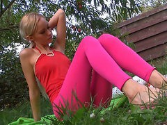 Sexy Blonde Teen Gets Ass Fucked in the Garden
