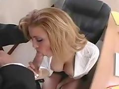 Blonde Secretary Spreads Them for the Boss