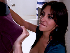 Interracial fucking with busty Latina Jazmyn ends with a creampie