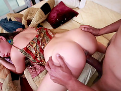 Sexy brunette with small tits yells while being logged hardcore doggystyle