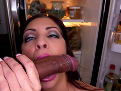 Busty cougar Jazmyn spreads her legs to ride a large black dick