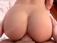 Round butt blondie Amy Brooke moans during hardcore anal sex