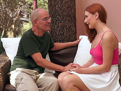 Older dude with a stiff dick fucks gorgeous redhead Eva Berger