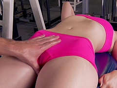 Enchanting brunette getting facial cumshot after being banged hardcore in the gym