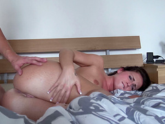 Astounding brunette amateur screaming as she gets drilled in her anal