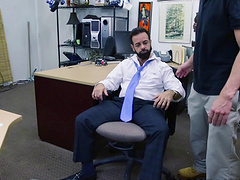 Compassionate gay getting his tight asshole banged hardcore in the office
