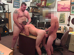 Handsome gay awarding massive dicks with superb blowjob threesome sex in the shop