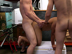 Handsome gay giving multiple dicks blowjob at the shop