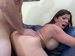 Marvelous milf yells while her shaved pussy is screwed hardcore
