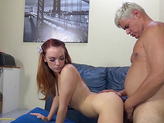 Immaculate cowgirl with long hair masturbating with a vibrator before getting drilled hardcore