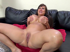 Brilliant brunette chubby with big tits coping up with big cock doggystyle