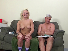 Fabulous blonde with natural tits working on her shaved pussy using huge vibrator