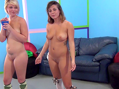 Lovely cowgirl in socks feasting her pussy using massive vibrator