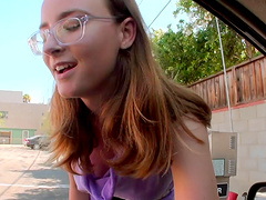 Amazing cowgirl in glasses giving huge dick handjob in reality pov shoot