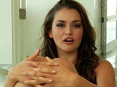 Gaping brunette getting face fucking in close up shoot
