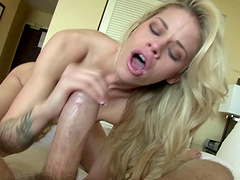 Attractive blonde with long hair getting rough sex