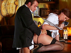 Gorgeous redhead dame in high heels getting screwed in the office