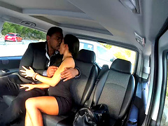 Fashionable brunette in high heels getting her pussy licked and drilled hardcore in the bus