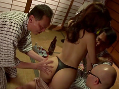 Brilliant cowgirl with natural tits unpins her thong then getting her pussy gangbanged hardcore