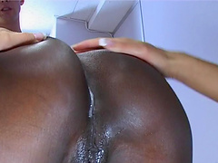 Blazing ebony cowgirl getting her shaved pussy fingered then screwed in ffm threesome