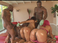 Captivating ebony with big ass getting her pussy licked and her anal feasted hardcore doggystyle in group sex