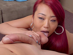 Adventurous redhead dame with small tits enjoying her shaved pussy being fingered and pounded hardcore