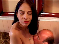 Brilliant matured cowgirl getting her natural tits fiddled and her hairy pussy smashed hardcore