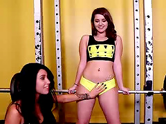 Libertine brunette babes with small tits giving a fantastic blowjob before getting pounded hardcore at the gym