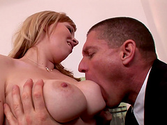Smutty blonde cowgirl with big tits getting an arousing tit fuck before getting banged hardcore