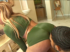 Vixenish ebony porn star with long hair getting her pussy licked before getting drilled by a big cock