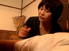 Wistful mature amateur Asian delivering a sensational hand job then gives a salacious blowjob
