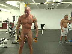 Enticing gay dude stimulated after a work out gets hammered hardcore in the gym