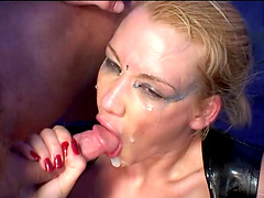 Compassionate blonde getting facial cumshot after getting double penetration