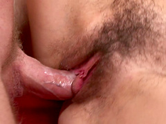 Affectionate cowgirl with natural tits enjoying her hairy pussy being drilled hardcore in pov shoot