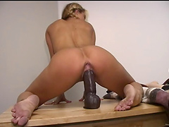 Angelic pigtails solo model with natural tits smashing her pussy using massive toy