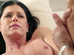 Sensuous milf with small tits gets her shaved pussy licked then screwed hardcore