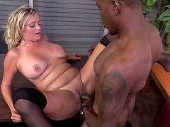Chubby MILF in stockings with big tits giving a stunning blowjob before being humped doggystyle as she moans