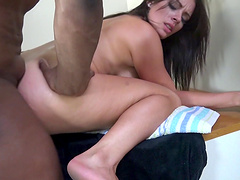 Sexy brunette porn stars giving blowjob then getting their shaved pussy screwed in epic interracial groupsex
