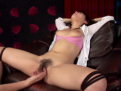 Exciting Asian cowgirl with natural tits gets her hairy pussy throbbed with multiple vibrators and sex toys